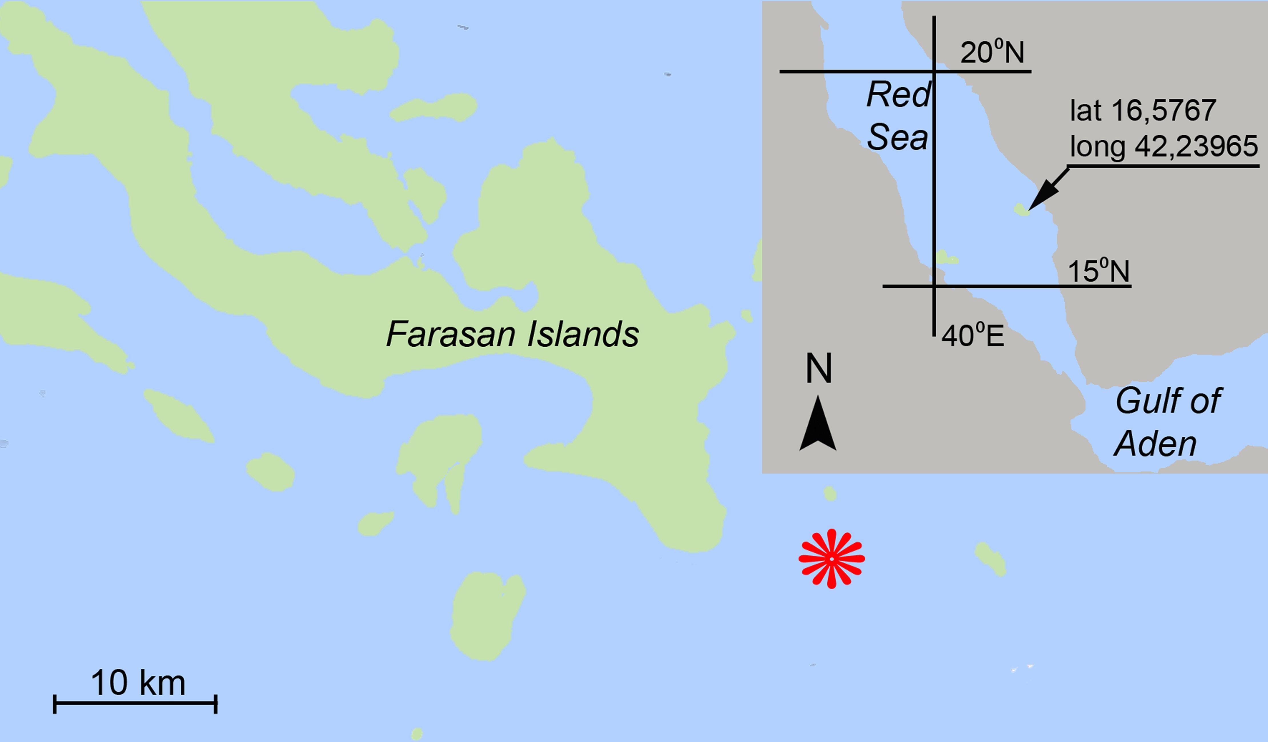 Карта района, вкотором найден новый вид гидроидных полипов.