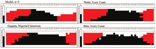 Сравнение компьютерной модели распределения оттенков цветовой гаммы по четырём базовым цветам сцветовыми картами языков, имеющих слова для наименования только четырёх базовых цветов