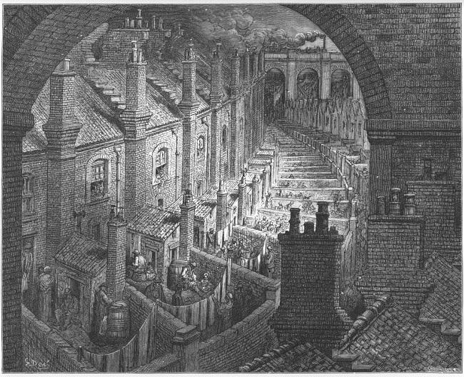 Гравюра Гюстава Доре, изображающая лондонские трущобы XIX века