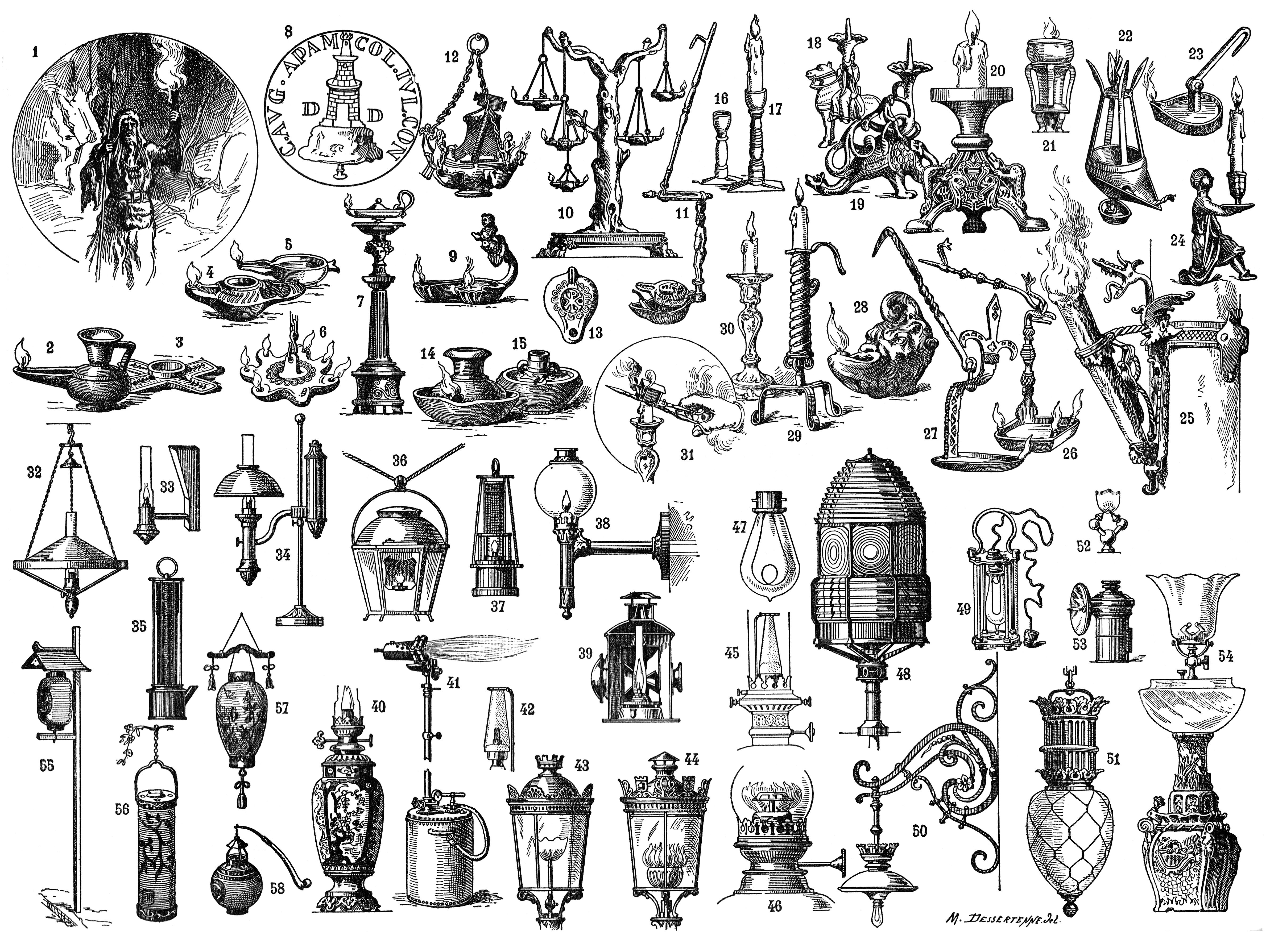 Морис Дессертен, «Eclairage» (Освещение) вNouveau Larousse Encyclopedia («Новой энциклопедии Ларусса»)