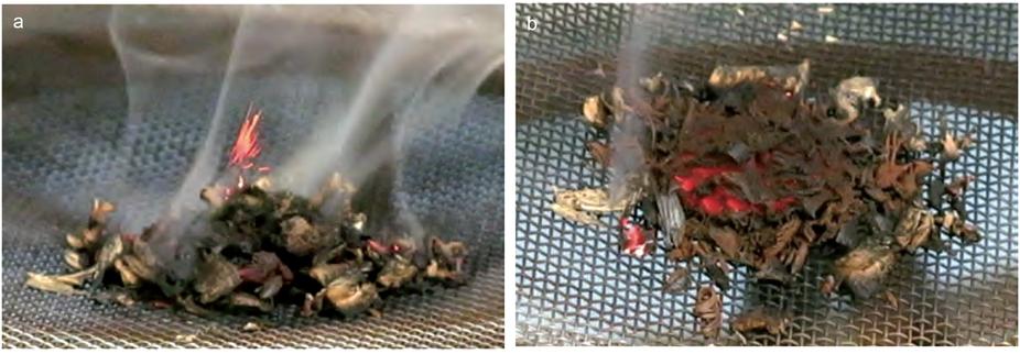 Эксперименты по воспламенению диоксида марганца исмеси древесных стружек.