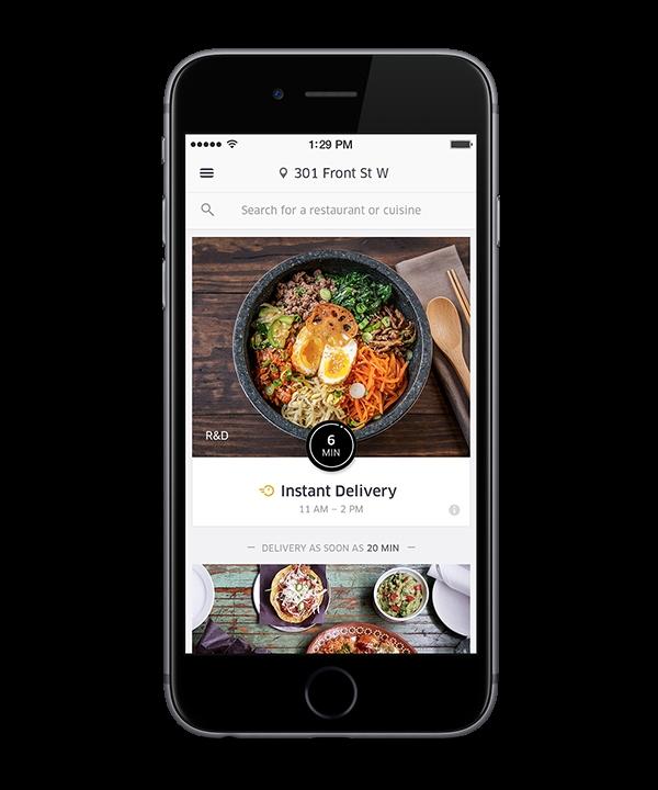 Приложение <i>UberEATS</i> насмартфоне <i>Apple</i>.