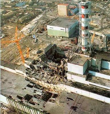 Фотография разрушенного энергоблока свертолёта
