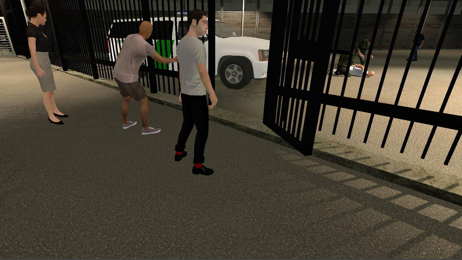 Сцена из «Применения силы» (Use of Force)— журналистского эксперимента ввиртуальной реальности, имитирующего ситуацию, когда нелегальный мигрант Анастасио Рохас был забит до смерти агентами пограничного патруля. Use of Force / Nonny de la Peña