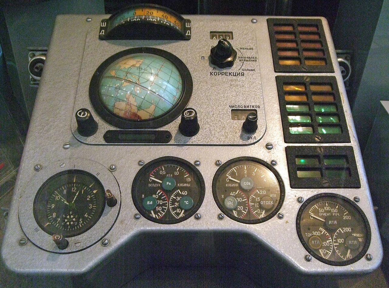 """Панель управления корабля """"Восток-1"""". Большинство функций выполнялось автоматически."""