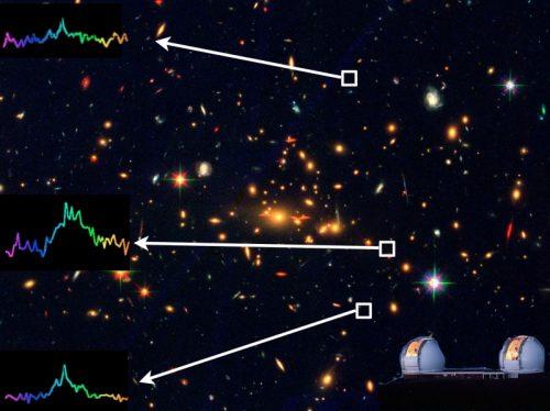 Изображение кластера неба, полученное космическим телескопом Хаббла. Три участка дают сходные спектры, что свидетельствует отом, что они зафиксировали один объект