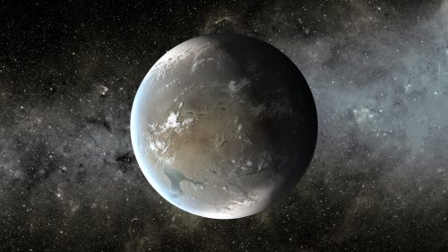 Планета Кеплер-62f, рисунок. Чтобы поддерживать температуру, необходимую для сохранения воды вжидком состоянии, экзопланете нужна концентрация углекислого газа в2500 раз превышающая земную.
