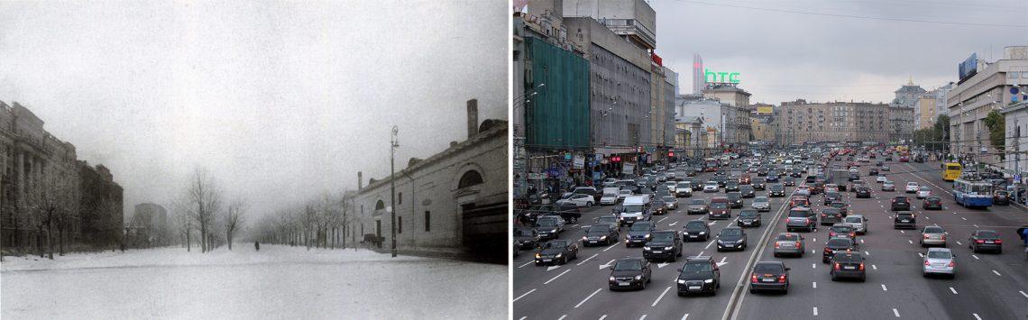 Зубовский бульвар вМоскве до реконструкции в1930-е гг. ивнаши дни