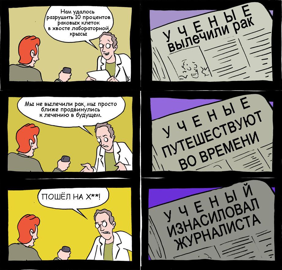 Известный комикс «Как пишутся научные новости». Перевод Алексея Водовозова (uncle_doc).