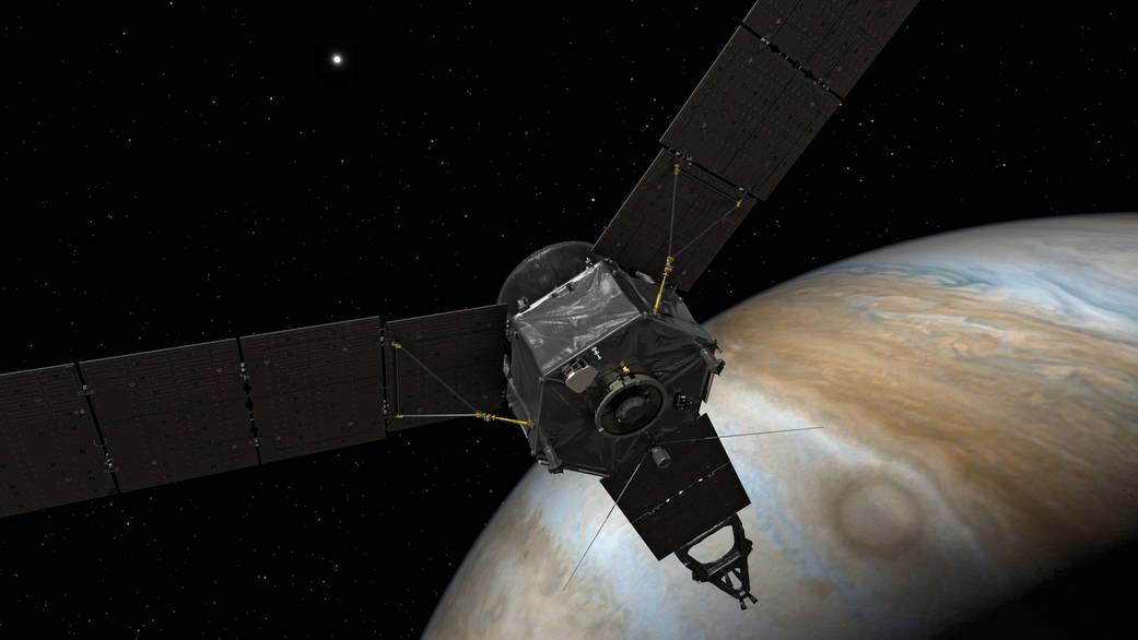 Юнона выходит наорбиту Юпитера (рисунок).
