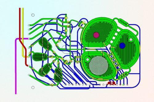 Схема устройства по производству биопрепаратов. Компоненты реактора— микрожидкостный фильтр (зелёный), оптические датчики (красный иголубой), фильтр (белый).