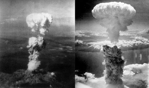 Ядерный гриб над Хиросимой (слева) иНагасаки (справа).