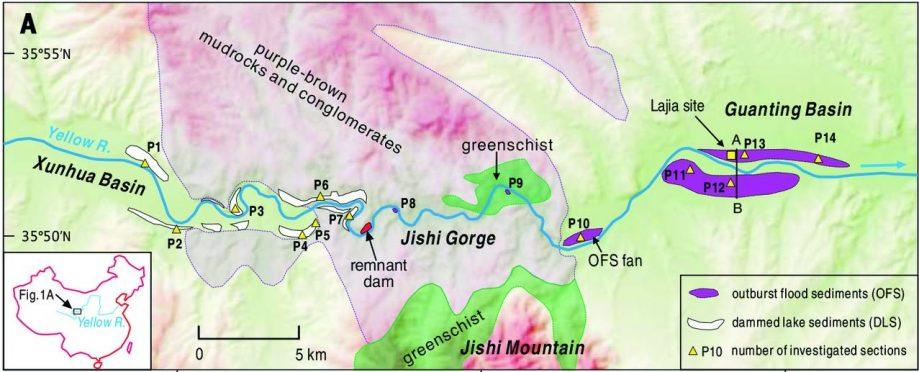 Место зарождения «Великого потопа». Красным отмечена запруда, белым— озёрные наносы, фиолетовым— породы, принесённые наводнением.