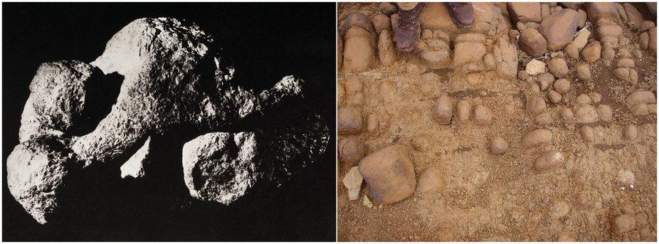 Слева— диабазовые сфероиды вбрекчии, участок 3, Пещера очагов (фото 1988 г). Справа— месторождение диабаза недалеко от Пещеры очагов. Здесь древние люди могли отбирать подходящие камни. Фото из обсуждаемой статьи.