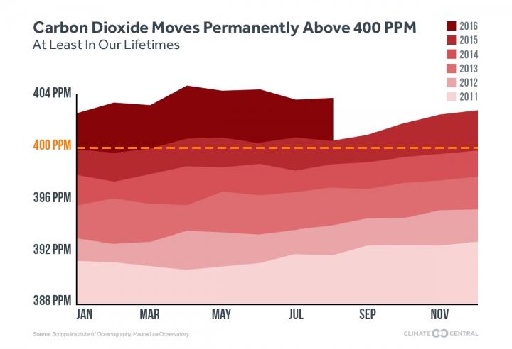 График колебаний содержания диоксида углерода ватмосфере