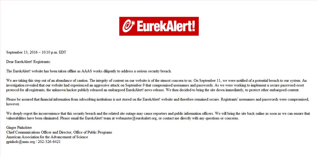 После атаки хакеров сайт EurekAlert! ушёл воффлайн, ана главной странице было опубликовано это сообщение.