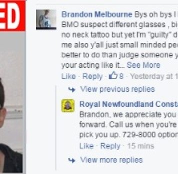 Подозреваемый вограбленииканадец дразнил полицию в«Фейсбуке»