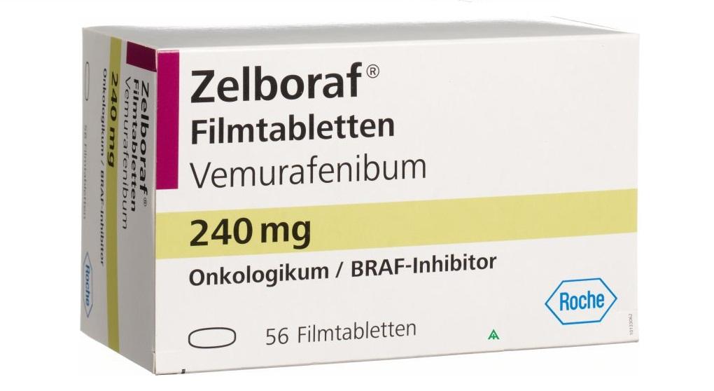 Препарат Вемурафениб (Vemurafenibum)— BRAF-ингибитор от компании Roche. BRAF-ингибиторы, наряду сMEK-ингибиторами— препараты первой линии для лечения метастатической меланомы.