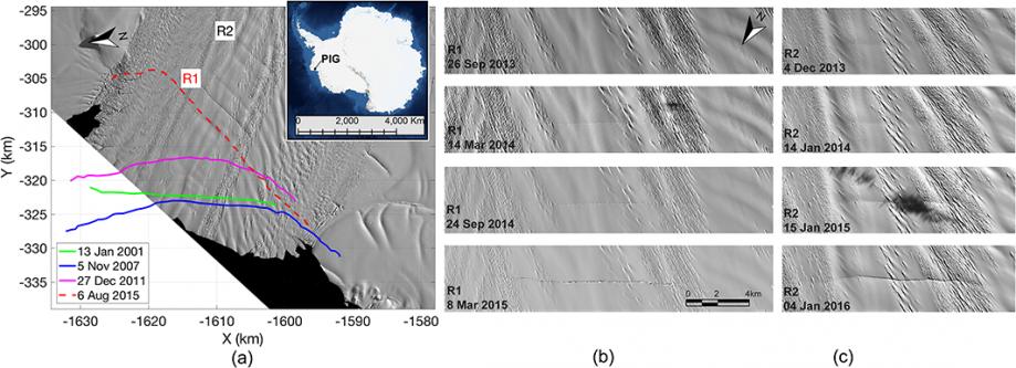 Ледник острова Пайн-Айленд. Развитие трещин.