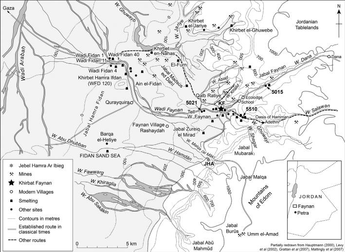 Карта рудного поля Файнан. Висследовании речь идёт об участке WF5021.