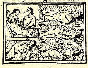 На миниатюрах изображены мексиканцы, страдающие от болезни, предположительно принесённой европейцами.