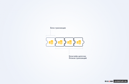 Рис. 1.1 Структура узла блокчейн: накаждом узле хранится цепочка блоков транзакций, одинаковая для всех узлов