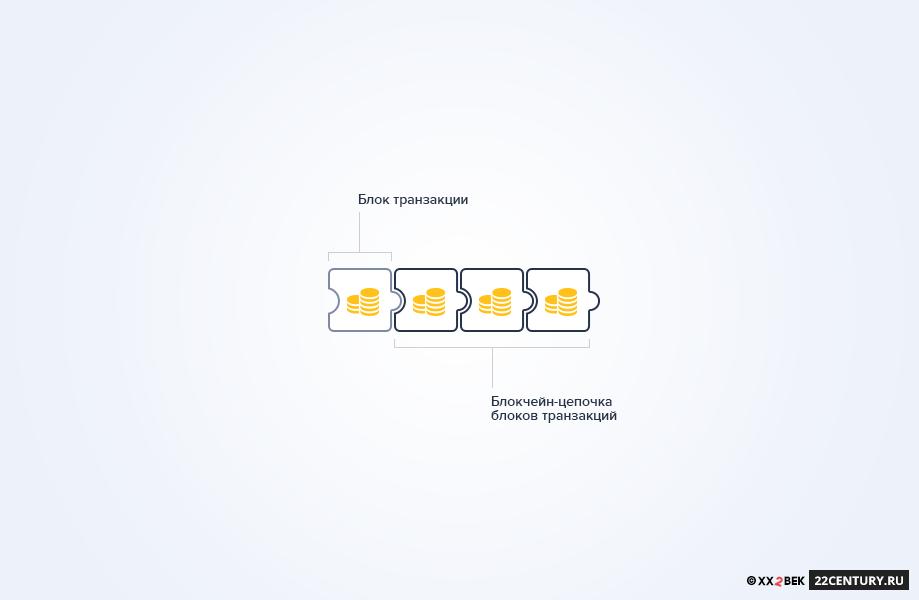 Рис. 1.1 Структура узла блокчейна: накаждом узле хранится цепочка блоков транзакций, одинаковая для всех узлов
