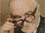 """Портрет выдающегося эпидемиолога Арчибальда Кокрейна, """"составленный"""" из фотографий участников Кокрейновского сотрудничества."""