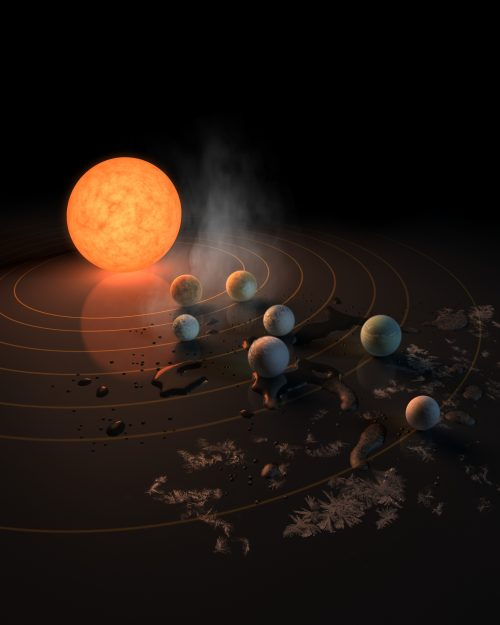 TRAPPIST-1 иокружающие её планеты, рисунок. Источник: European Southern Observatory.