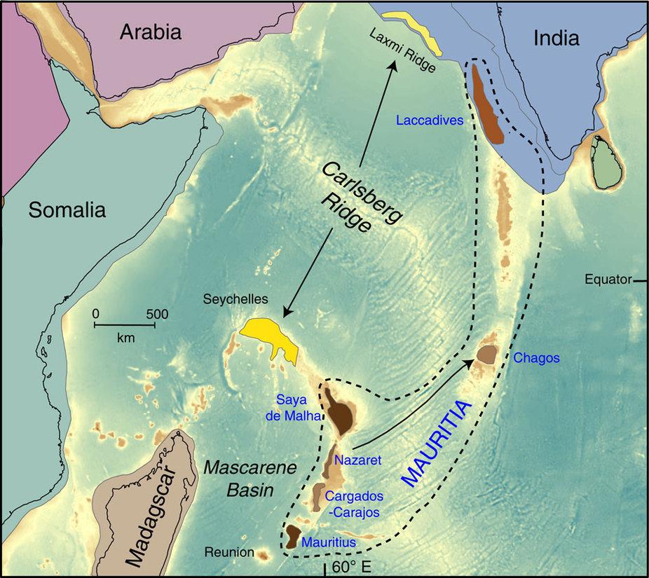 Расположение предполагаемых фрагментов континента Гондвана вИндийском океане. Мавриция обозначена коричневым цветом.