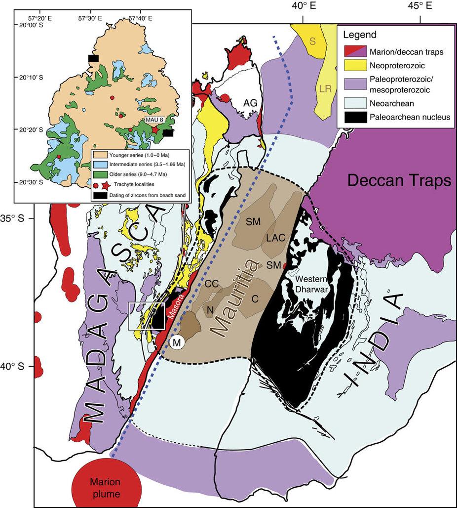 Гипотетическое расположение Мавриции 90—85 миллионов лет назад.