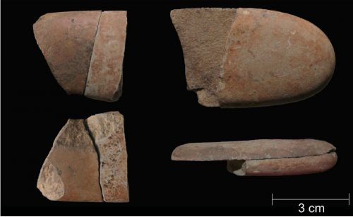 Расколотые ивосстановленные части галек, найденные вАрене Кандиде