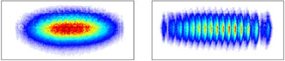 Сравнение изображений наэкране вслучае, когда две щели из трёх закрыты (слева) икогда открыты все три щели (справа). O. S. Magaña-Loaiza et al., Nat. Commun. 7, 13987 (2016)