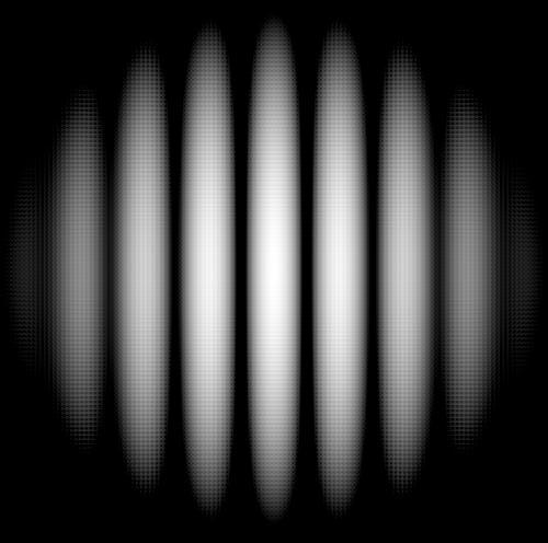Интерференционная картина для двух щелей, полученная насовременном оборудовании. Что-то подобное Томас Юнг инаблюдал насвоём экране.