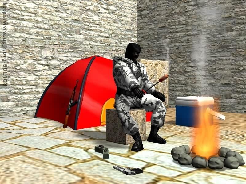 Террорист жарит сардельку сособой жестокостью.