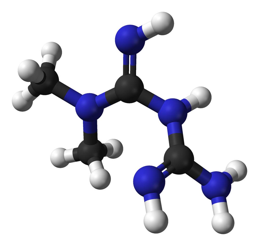 Объёмная модель молекулы метформина.