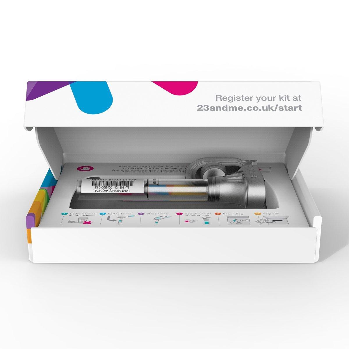 Набор 23andMe. Внутри— пробирка для сбора слюны со специальной насадкой.