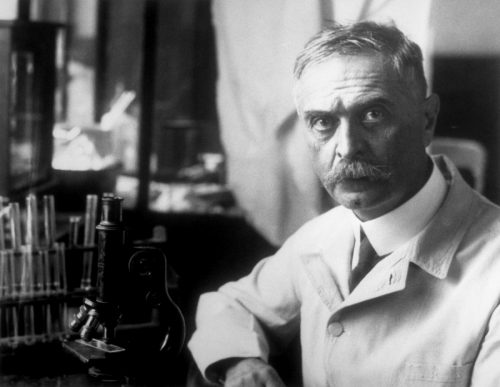 Карл Ландштейнер всвоей лаборатории.