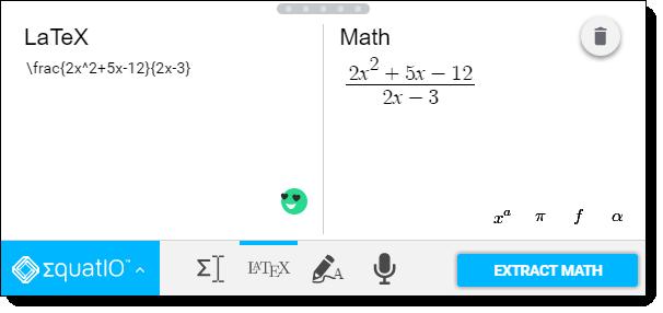 Интерфейс расширения <i>EquatIO</i>.