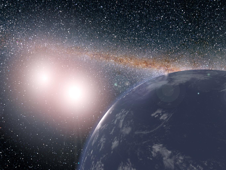 """Гипотетическая планета всистеме Кеплер-35, рисунок. Источник: <abbr lang=""""ru"""" title=""""NASA— Национальное управление по воздухоплаванию иисследованию космического пространства США"""">НАСА</abbr>."""