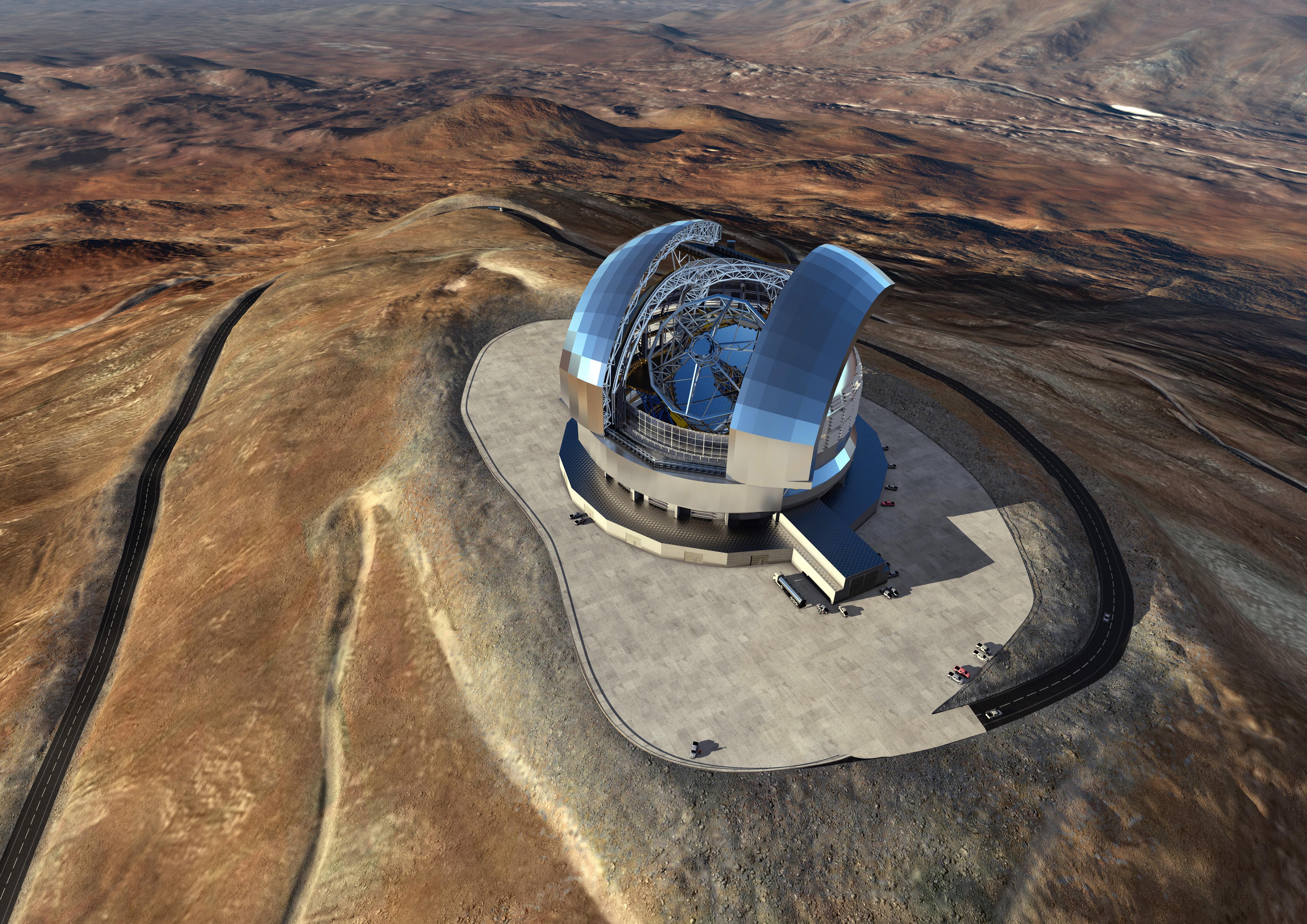 "Чрезвычайно большой телескоп (Extremely Large Telescope), рисунок. Источник: <a href=""https://www.eso.org/public/images/eso1617e"" target=""_blank"">ESO</a>."