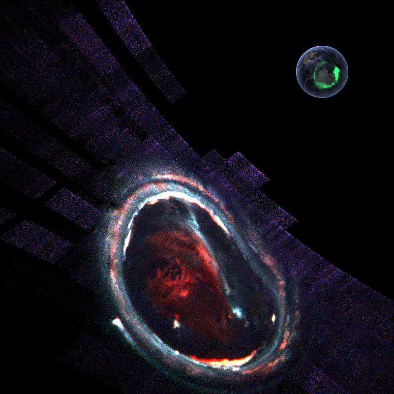Кричащий монстр? Нет, полярное сияние наЮпитере. Вправом верхнем углу— фотография земной авроры, для сравнения.