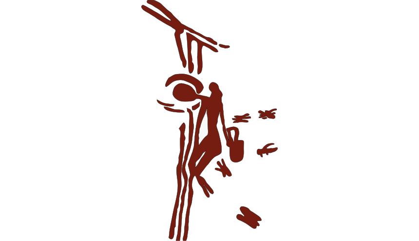 «Бикорпский человек», влезающий по лианам, чтобы собрать мёд из пчелиного улья. Рисунок 8000-летней давности водной из «Паучьих пещер вБикорпе».