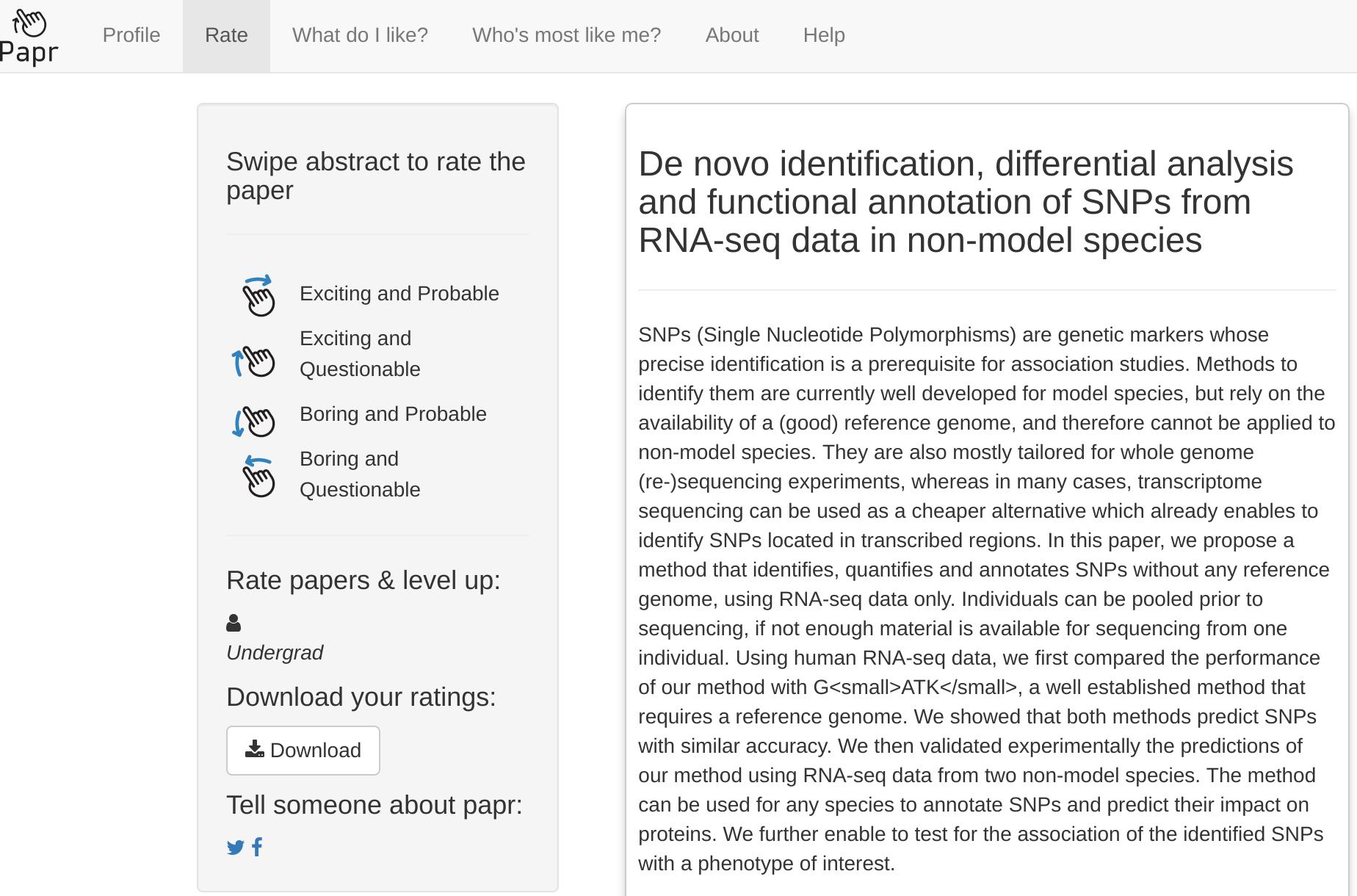 Интерфейс веб-приложения Papr. Поскольку оценивать работы нужно свайпом, удобнее использовать мобильную версию.