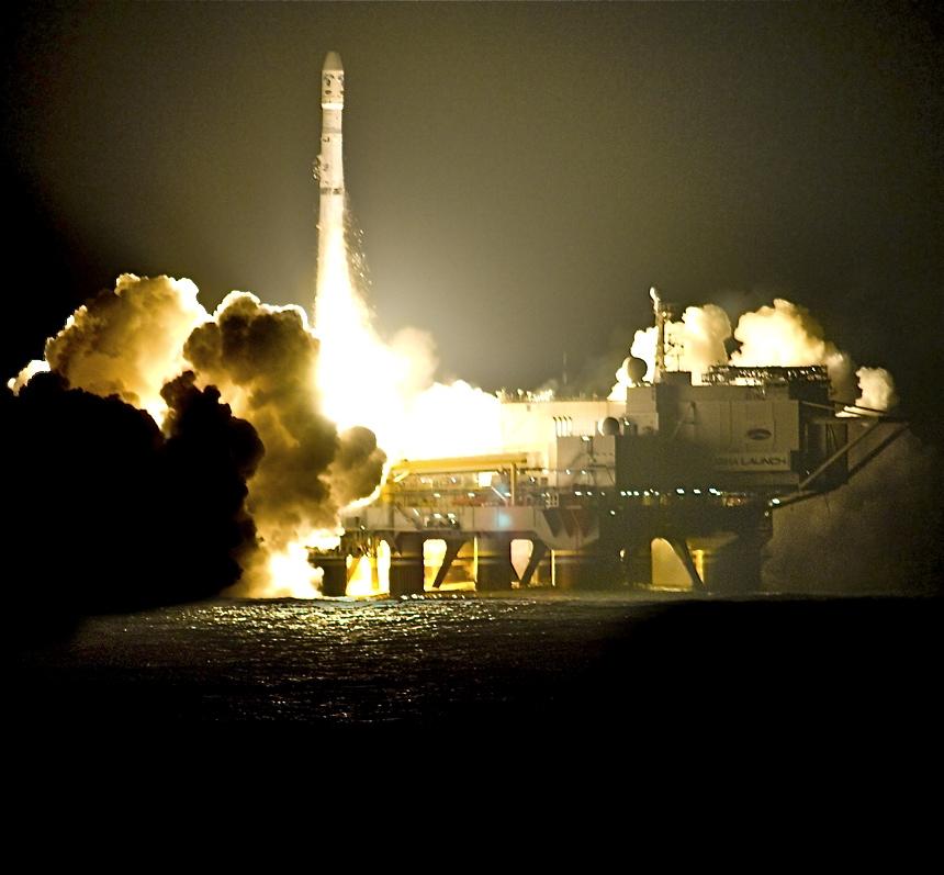 Запуск ракеты сплатформы «Морского старта».