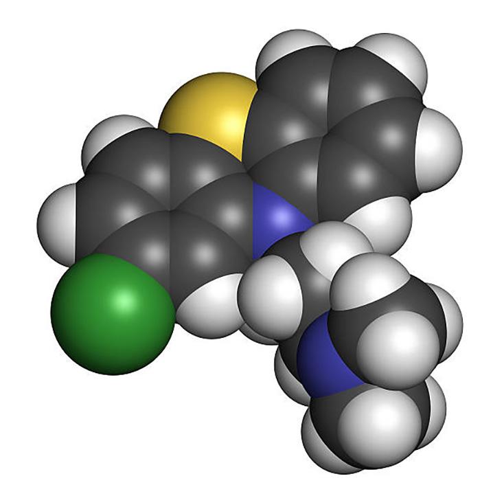Молекула хлорпромазина.