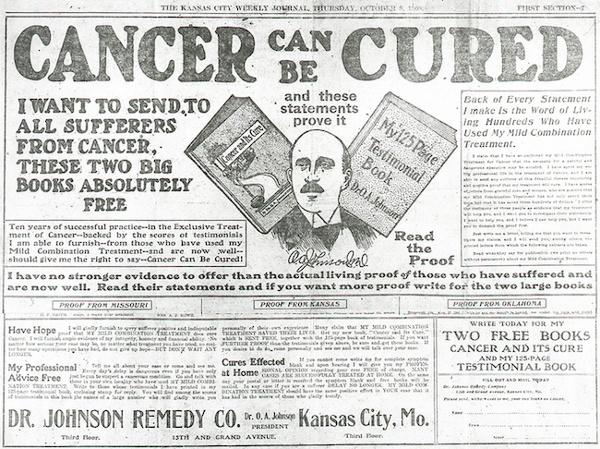 Обещания чудесно вылечить рак— неновы.