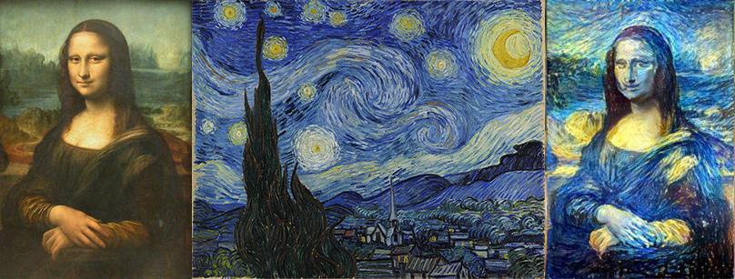 Рис. 5. «Мона Лиза» (Леонардо да Винчи)— исходное изображение (слева), «Звёздная ночь» (Винсент Ван Гог)— источник стиля (в центре), «обработанная» Мона Лиза (справа)