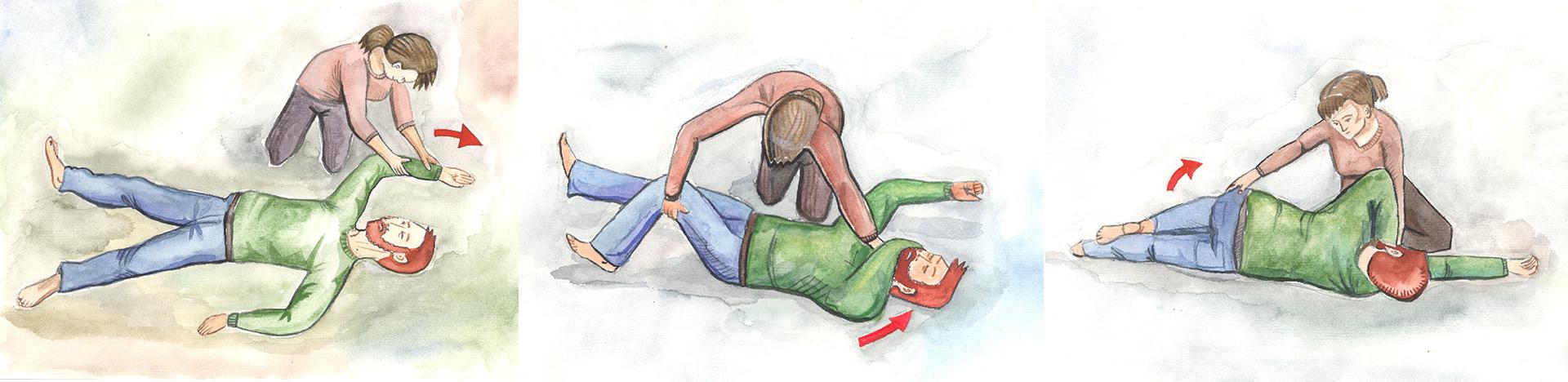 Как правильно повернуть человека без сознания направый бок