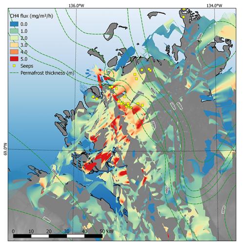 Карта выбросов метана всеверной части района исследования